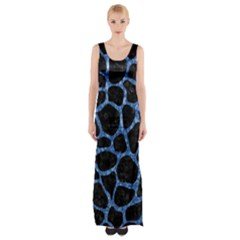 SKN1 BK-BL MARBLE Maxi Thigh Split Dress