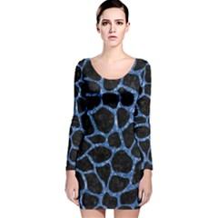 SKN1 BK-BL MARBLE Long Sleeve Velvet Bodycon Dress