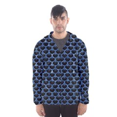 Scales3 Black Marble & Blue Marble (r) Hooded Wind Breaker (men)