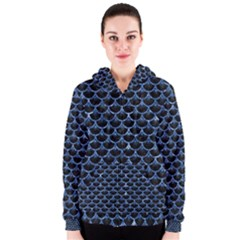 Scales3 Black Marble & Blue Marble (r) Women s Zipper Hoodie