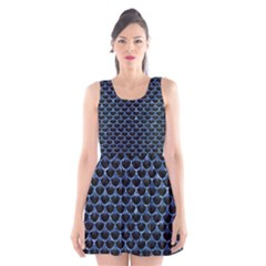 Scales3 Black Marble & Blue Marble (r) Scoop Neck Skater Dress