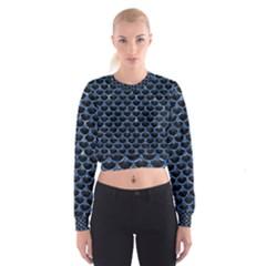 SCA3 BK-BL MARBLE (R) Women s Cropped Sweatshirt