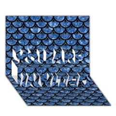 Scales3 Black Marble & Blue Marble You Are Invited 3d Greeting Card (7x5)