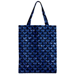 Scales3 Black Marble & Blue Marble Zipper Classic Tote Bag