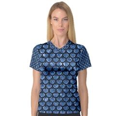 Scales3 Black Marble & Blue Marble V Neck Sport Mesh Tee