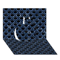 Scales2 Black Marble & Blue Marble (r) Apple 3d Greeting Card (7x5)