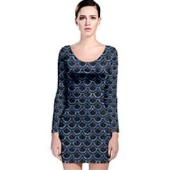 SCA2 BK-BL MARBLE (R) Long Sleeve Velvet Bodycon Dress