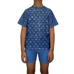 Scales2 Black Marble & Blue Marble Kids  Short Sleeve Swimwear
