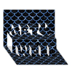 Scales1 Black Marble & Blue Marble (r) Get Well 3d Greeting Card (7x5)