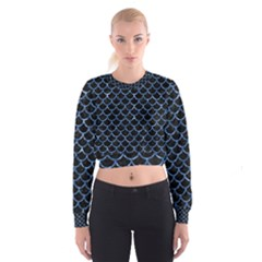 Scales1 Black Marble & Blue Marble (r) Cropped Sweatshirt