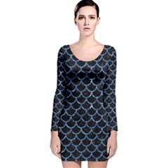 SCA1 BK-BL MARBLE (R) Long Sleeve Velvet Bodycon Dress