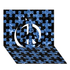Puzzle1 Black Marble & Blue Marble Peace Sign 3d Greeting Card (7x5)
