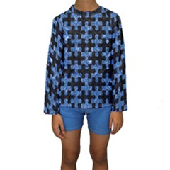 Puzzle1 Black Marble & Blue Marble Kids  Long Sleeve Swimwear