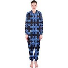 Puzzle1 Black Marble & Blue Marble Hooded Jumpsuit (ladies)