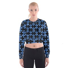 Puzzle1 Black Marble & Blue Marble Cropped Sweatshirt