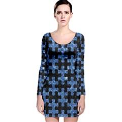 PUZ1 BK-BL MARBLE Long Sleeve Velvet Bodycon Dress