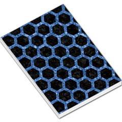 Hexagon2 Black Marble & Blue Marble (r) Large Memo Pads
