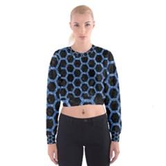 HXG2 BK-BL MARBLE (R) Women s Cropped Sweatshirt