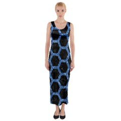 Hexagon2 Black Marble & Blue Marble (r) Fitted Maxi Dress