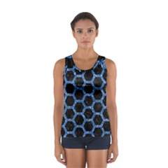 Hexagon2 Black Marble & Blue Marble (r) Sport Tank Top