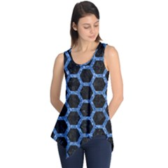 Hexagon2 Black Marble & Blue Marble (r) Sleeveless Tunic