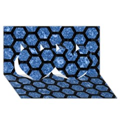Hexagon2 Black Marble & Blue Marble Twin Hearts 3d Greeting Card (8x4)
