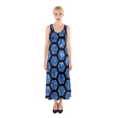 HXG2 BK-BL MARBLE Full Print Maxi Dress