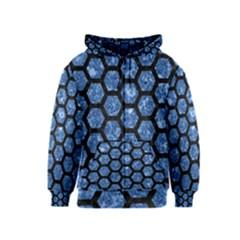 Hexagon2 Black Marble & Blue Marble Kids  Zipper Hoodie