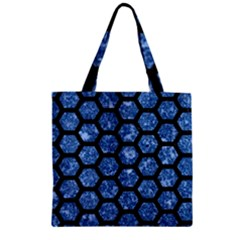 Hexagon2 Black Marble & Blue Marble Zipper Grocery Tote Bag