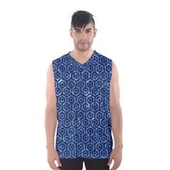 Hexagon1 Black Marble & Blue Marble Men s Basketball Tank Top