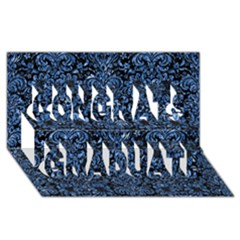 Damask2 Black Marble & Blue Marble (r) Congrats Graduate 3d Greeting Card (8x4)