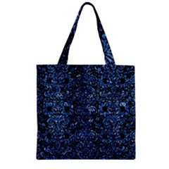 Damask2 Black Marble & Blue Marble (r) Zipper Grocery Tote Bag