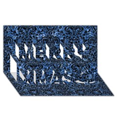 Damask2 Black Marble & Blue Marble Merry Xmas 3d Greeting Card (8x4)