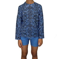 Damask2 Black Marble & Blue Marble Kids  Long Sleeve Swimwear