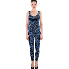 Damask2 Black Marble & Blue Marble Onepiece Catsuit