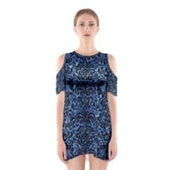 DMS2 BK-BL MARBLE Cutout Shoulder Dress