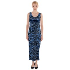 Damask2 Black Marble & Blue Marble Fitted Maxi Dress