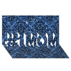 Damask1 Black Marble & Blue Marble (r) #1 Mom 3d Greeting Cards (8x4)