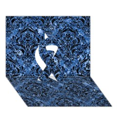 Damask1 Black Marble & Blue Marble (r) Ribbon 3d Greeting Card (7x5)