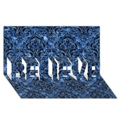 Damask1 Black Marble & Blue Marble (r) Believe 3d Greeting Card (8x4)