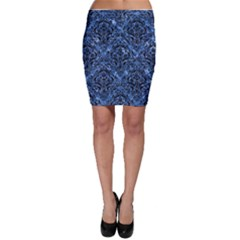Damask1 Black Marble & Blue Marble (r) Bodycon Skirt