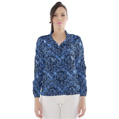 Damask1 Black Marble & Blue Marble (r) Wind Breaker (women)