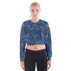 Damask1 Black Marble & Blue Marble (r) Cropped Sweatshirt
