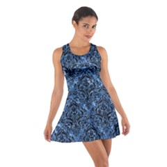 Damask1 Black Marble & Blue Marble (r) Cotton Racerback Dress