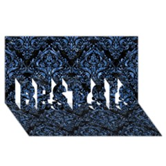 Damask1 Black Marble & Blue Marble Best Sis 3d Greeting Card (8x4)
