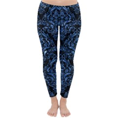 Damask1 Black Marble & Blue Marble Classic Winter Leggings