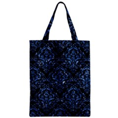Damask1 Black Marble & Blue Marble Zipper Classic Tote Bag