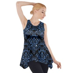 Damask1 Black Marble & Blue Marble Side Drop Tank Tunic