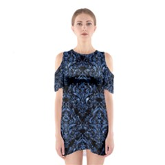 Damask1 Black Marble & Blue Marble Shoulder Cutout One Piece