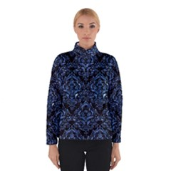 Damask1 Black Marble & Blue Marble Winter Jacket